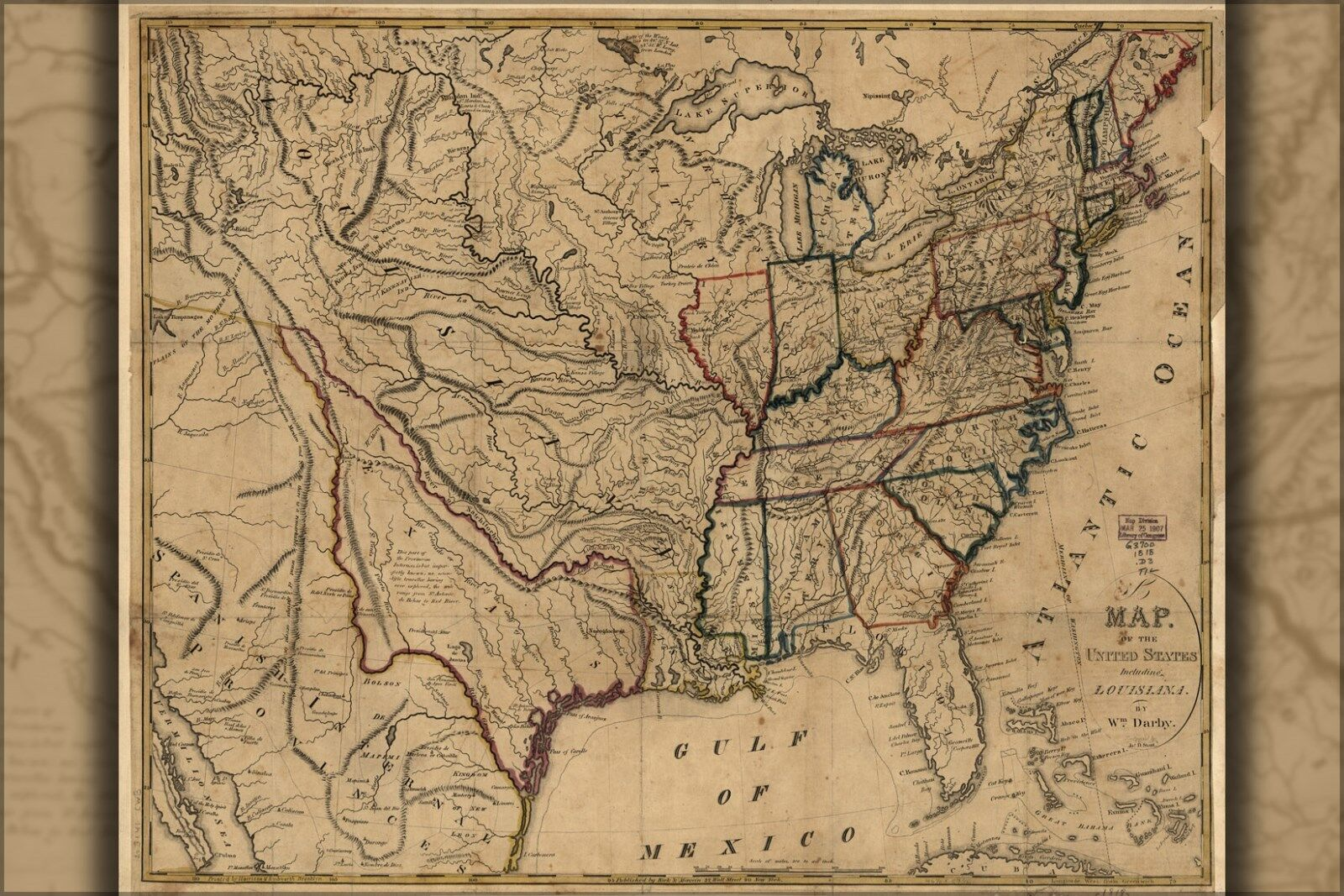 Poster, Many Größes; Map Of The United States 1818