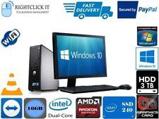FULL DELL/HP DUAL CORE/AMD DESKTOP TOWER PC&LCD,WIN 7/10 16GB 3TB or 240GB SSD