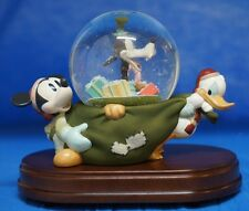 Vintage Mickey, Goofy & Donald Christmas Sack Musical Motion Snowglobe Disney