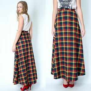 Vintage 70s 80s TARTAN PLAID SKIRT wool dress long maxi full HIGH ...