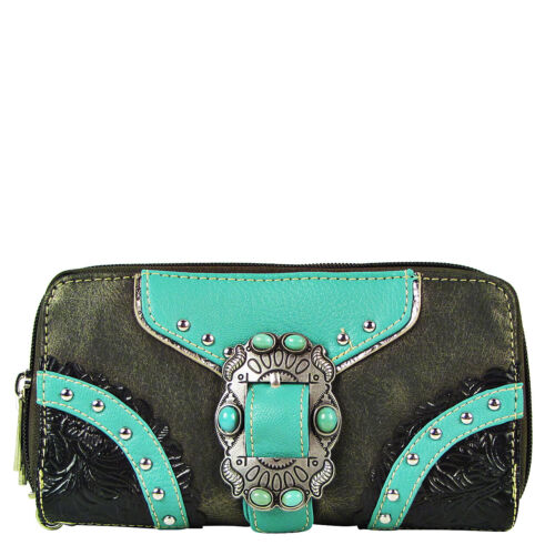 GRAY TURQUOISE STUDDED BUCKLE MONTANA WEST ZIPPER WALLET COUNTRY AND WESTERN NEW