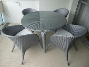 Détails sur Lot de 2 Chaises De salon jardin résine tressé design rotin  gris Neuf