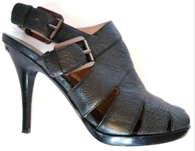 cc8c9012ab61 Michael Kors~DARK GREY METALLIC LEATHER~NORA~Open Toe~Platform~Heel ...