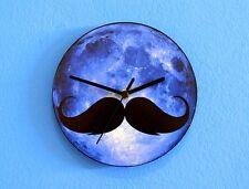 Blue Moon Mustache - Wall Clock
