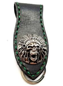 Biker-Skull-Indian-Trucker-Green-Stitch-Leather-Belt-Clip-Keychain-Key-Holder
