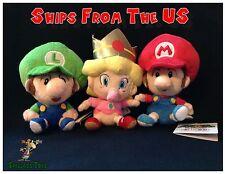 "Nintendo Super Mario 5"" Plush San-ei - Baby Mario, Luigi, & Princess Peach set"