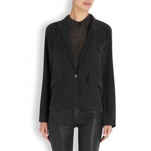ff974d2c9fc Equipment Leon Washed Silk Blazer Black Womens 2 10 NWT $398 | eBay