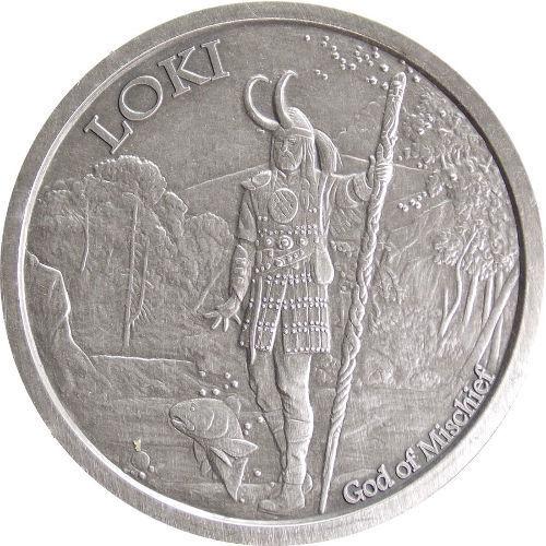 1 OZ LOKI ANTIQUE .999 Silver w// COA VALKYRIE NORSE GODS SERIES #5 VIKING