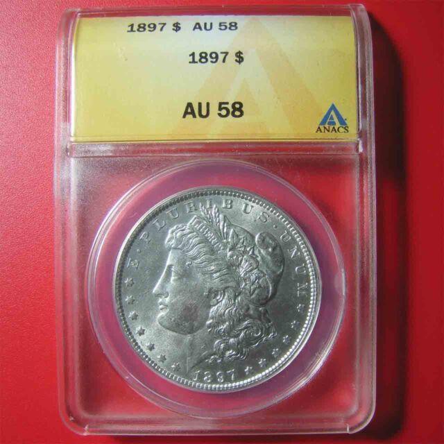 1897 MORGAN SILVER $1 DOLLAR ANACS AU-58 HIGHLY COLLECTABLE GRADED USA COIN