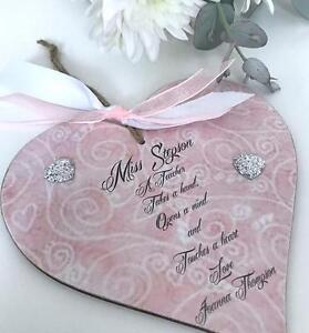 Personalised Teacher Heart Keepsake Gift Sign Plaque P167