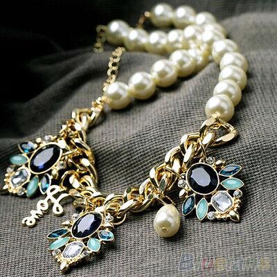 Chic Women Crystal Flower Pendant Pearls Beaded Chain Choker Boho Cute Necklace