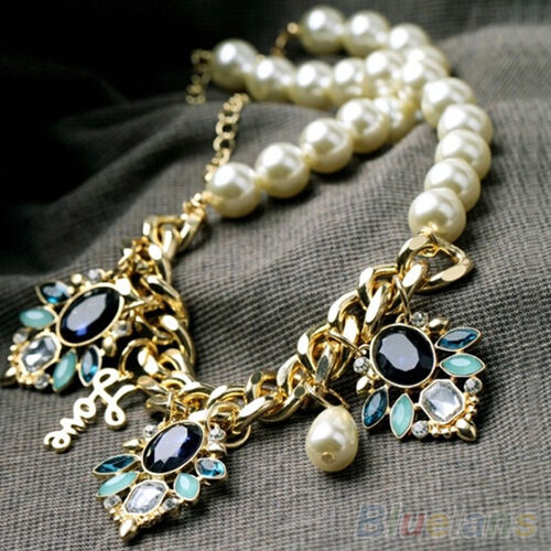 Chic Women Crystal Flower Pendant Pearls Beaded Chain Choker Boho Cute Necklace