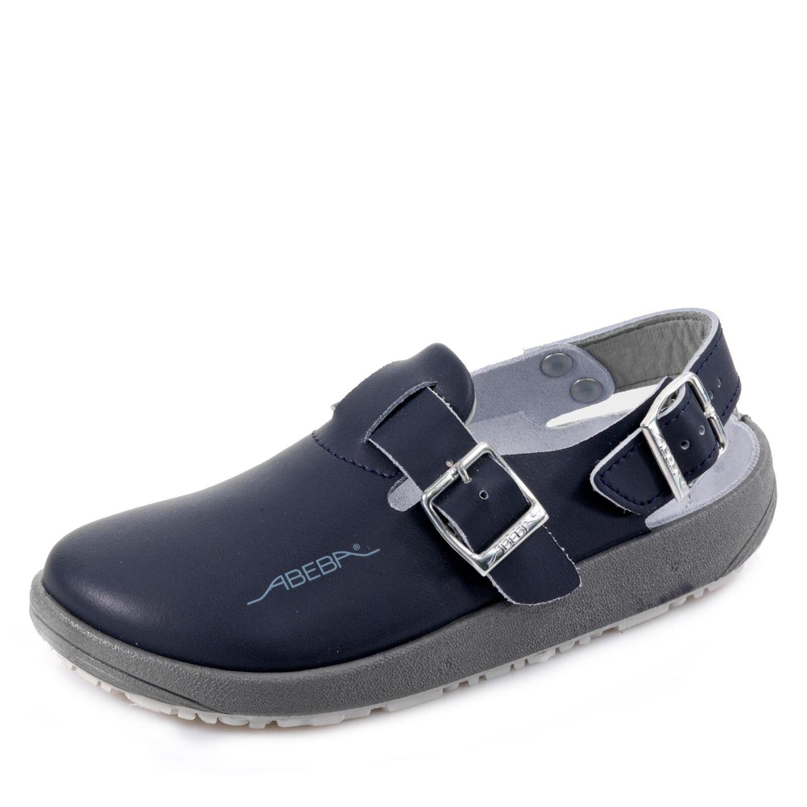 Abeba Damen und Herren Clogs Arbeitsschuhe Schlupfschuhe Pantoletten Schuhe blau