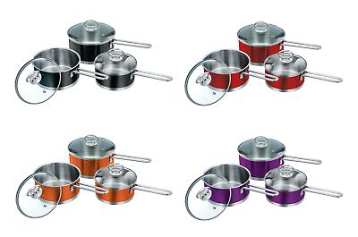 3pc Acciaio Inox Casseruola Milkpan Padella Cucina Cook Set Di Cottura Ad Induzione-