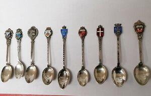 9 x silver spoons souvenirs + 3 x plate