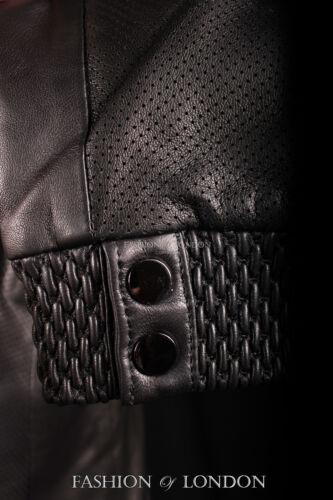 Men/'s VENOM Black Perforated Italian Lambskin Leather Summer Bomber Jacket A-08