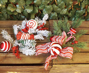 Red-amp-White-Christmas-Candy-Cane-Tree-Cone-Snow-Spray-Sweets-Bauble-Decorations
