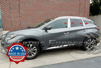 Fit:2009-2014 Nissan Murano 8Pc Chrome Pillar Post Stainless Steel Trim