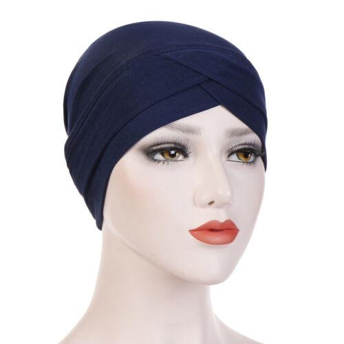 Femmes Extensible Chapeau Turban Cross Tête Wraps chimio Couleur Unie Musulman Hijab Caps