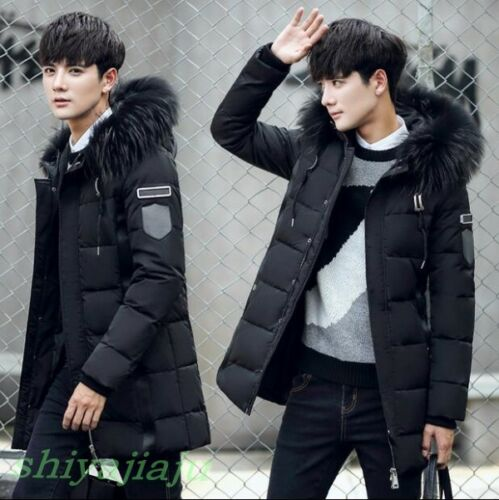 Fashion Youth Mens Winter Fur Collar Hooded Cotton Padded Coat Students Outwear