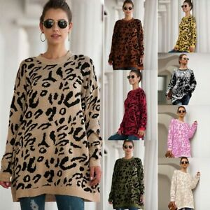 Loose-Knitwear-Sweater-Womens-Knit-Shirt-T-Shirt-Jumper-Tops-Long-Sleeve-Knitted