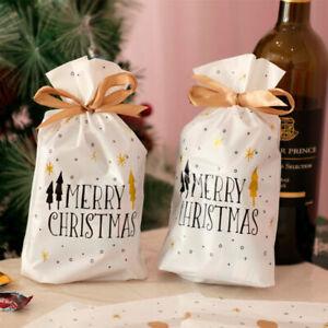 10x-Cadeau-De-Noel-Sacs-Cookies-Bonbons-avec-cordon-de-serrage-Emballage-Noel-Fete-Decor