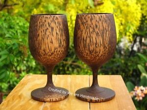 Set-2-Handmade-3-034-x-6-034-Browns-and-Wood-Thai-Art-Wooden-Wine-Glass-Glasses-Gift