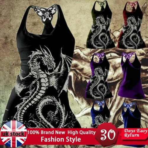 Women/'s Gothic Black Dragon Print Tank Top Casual Sleeveless Vest Summer Shirt