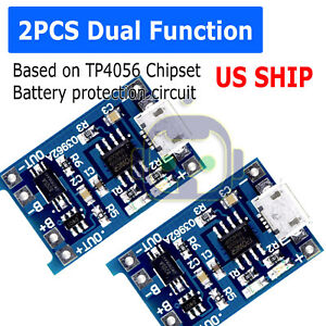 2PCS-5V-1A-Micro-USB-TP4056-18650-Lithium-Battery-Charging-Board-Charger-Module