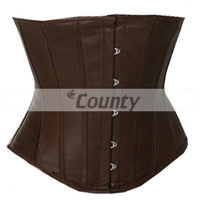 Underbust Corset Black Real Leather Full Steel Boned Spiral Basque Lacing Shaper