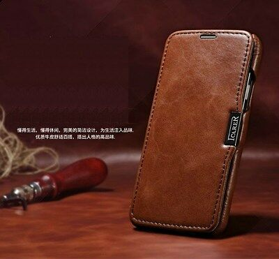ICARER Luxury Cowhide Genuine Leather Wallet Cover Case For Samsung Galaxy S5