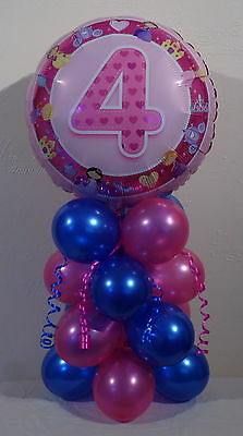 SILVER AGE 4 TABLE CENTREPIECE PARTY FOIL BALLOON DISPLAY 4th BIRTHDAY