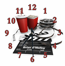 Personalized Clock MOVIE THEATRE Cinema Decoration Your Name Family Room Gift