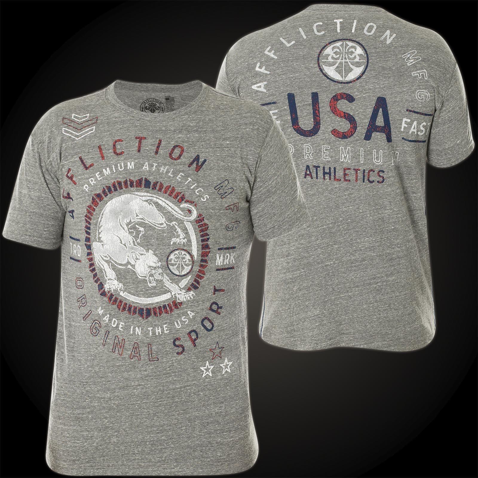 AFFLICTION T-Shirt Combat Athletic Hellgrau T-Shirts Herren