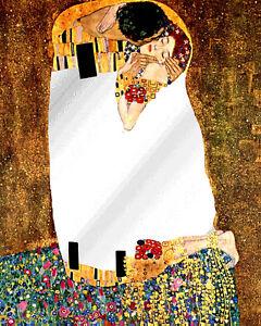 Espejo-Cuadro-Beso-de-Klimt-Madera-3cm-con-Textura-oleo-Listo-para-Colgar