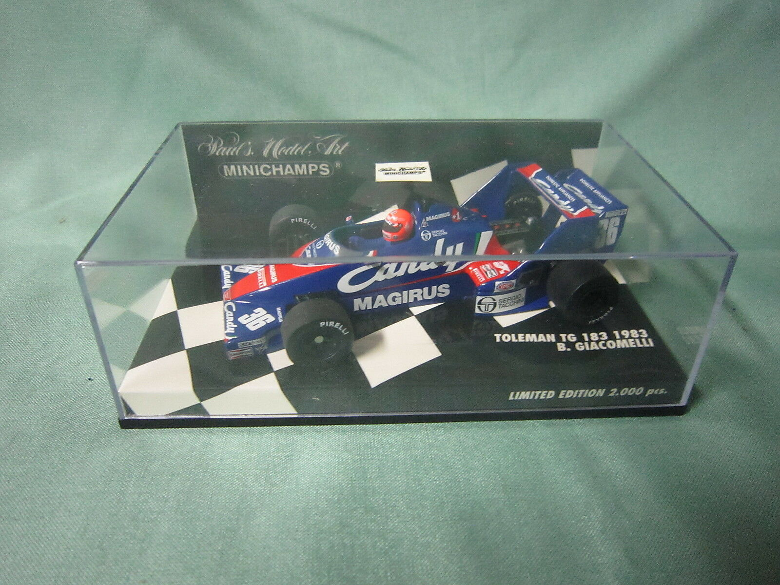 DV5930 MINICHAMPS TOLEMAN TG 183 1983 GIACOMELLI 430830036 CANDY Ed Lim 1 43