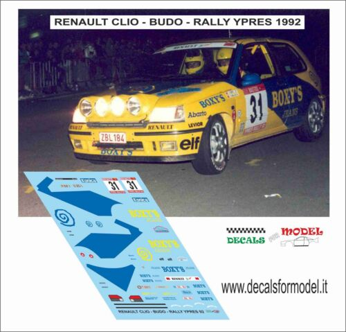DECALS 1//43 RENAULT CLIO BUDO RALLY YPRES 1992