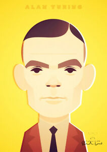 Alan Turing by Stanley Chow - Signed and stamped archival Giclee print