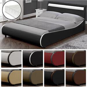 CORIUM-Design-LED-Polsterbett-140-180-x-200cm-Kunst-Leder-Doppel-Ehe-Bett