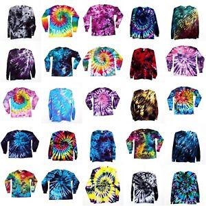 Tie-Dye-T-Shirt-Long-Sleeve-Adult-Tye-Die-S-M-L-XL-2XL-3XL-Cotton-100
