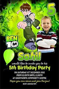 Detalles De Invitaciones De Cumpleaños Personalizadas Ben 10 X 5 Ver Título Original