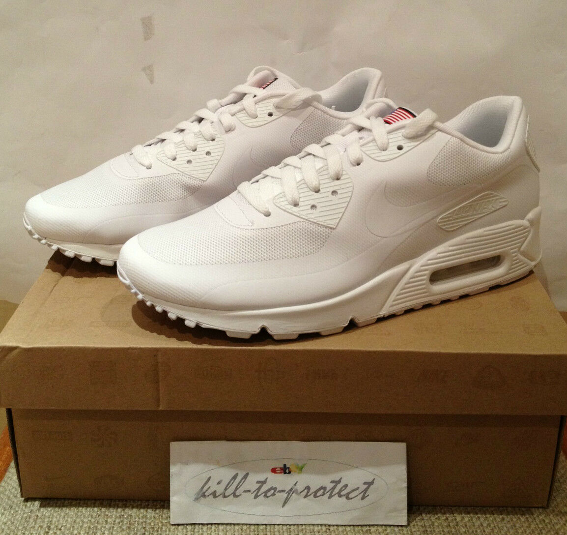 NIKE AIR MAX 90 HYPERFUSE USA White US UK6 7 8 9 10 11 12 13 QS 613841-110 2013