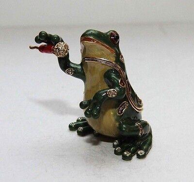 Frog Trinket Box by Keren Kopal Faberge Egg Swarovski 2012 RARE