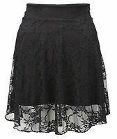 Ladies Floral Lace Skater Skirt Womens Flare Summer New Mini Skirt Plus Size AF