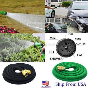 Expandable Flexible Garden Water Hose Pipe Car Wash Spray Nozzle Brass Connector Ebay