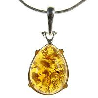 Gift Boxed Baltic Amber Sterling Silver 925 Ladies' Pendant Jewellery Jewelry