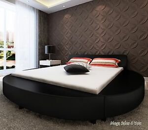 Super King Size PU Leather Black Round Bed Frame Upholstery
