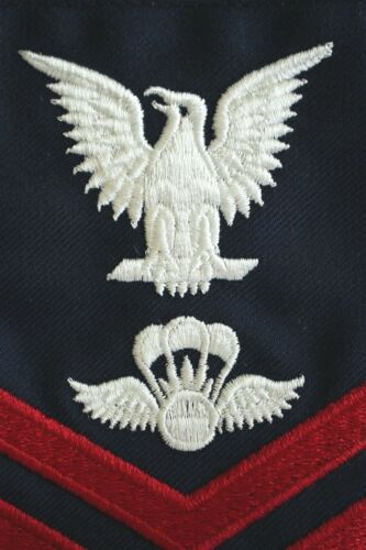 USCG COAST GUARD PETTY OFFICER E4-6 AVIATION SURVIVALMAN BLUE SLEEVE RANK RATE