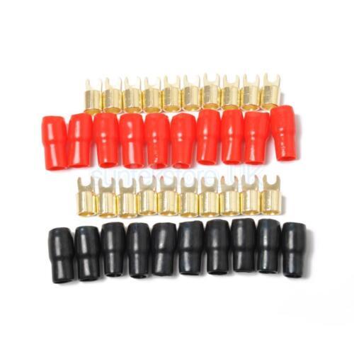 10 Pairs 4 AWG Car Audio Power Ground Wire Fork Terminal Connector Brass