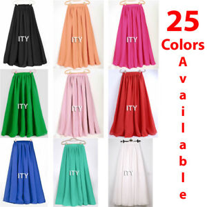 Women-Maxi-Skirt-Chiffon-Double-Layer-Pleated-Retro-Long-Dress-Elastic-Waist-New